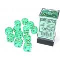 CHX 27775 - SET 12 DADI 6 FACCE 16MM - BOREALIS LIGHT GREEN/GOLD LUMINARY