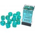 CHX 27785 - SET 12 DADI 6 FACCE 16MM - BOREALIS TEAL/GOLD LUMINARY
