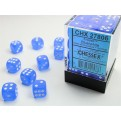 CHX 27806 - SET 36 DADI 6 FACCE 12MM - FROSTED BLUE W/WHITE