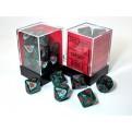 CHX 29005 - SET DADI SPECIALI - 10 DADI 10 FACCE ANKH - GREEN MARBLE W/ RED