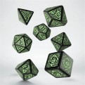 SCER21 - SET 7 DADI CELTIC 3D BLACK GREEN