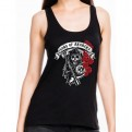 SONS OF ANARCHY - TK009 - TANK TOP DONNA BADGE CREW ROSES L