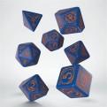 SWIZ90 - SET 7 DADI - WIZARD DARK BLUE ORANGE