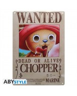 ABYPLA004 - ONE PIECE - PLACCA METALLICA CHOPPER WANTED 28X38 CM