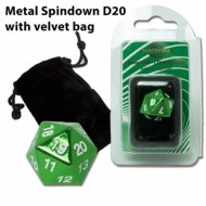 07264 - DADO D20 SPINDOWN IN METALLO CON SACCHETTO IN VELLUTO - GREEN