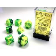 CHX 26454 - SET 7 DADI POLIEDRICI GEMINI - GREEN-YELLOW W/SILVER