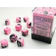 CHX 26830 - SET 36 DADI 6 FACCE 12 MM GEMINI - BLACK-PINK W/WHITE