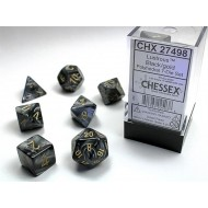 CHX 27498 - SET 7 DADI POLIEDRICI - LUSTROUS BLACK W/GOLD